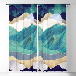 Teal Mountains Blackout Curtain