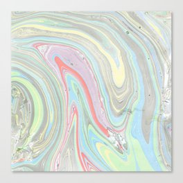 Pink coral mint green aqua watercolor abstract marble pattern Canvas Print