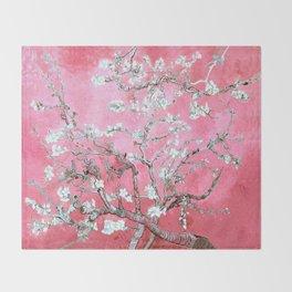 Van Gogh Almond Blossoms : Pink & Aqua Throw Blanket
