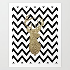 Glitter Deer Silhouette with Chevron Art Print