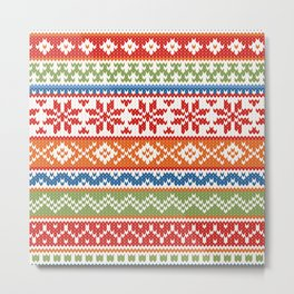 Fair Isle Multicolor Metal Print