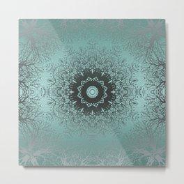 Turquoise ornament, kaleidoscope Metal Print