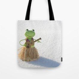 Frog in Snow Tote Bag