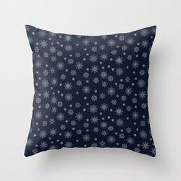 Snowflakes at night Throw Pillow