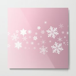 Pink Snowflake Background Metal Print