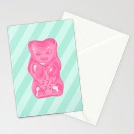 Pink Gummi Bear on Mint Background Stationery Cards