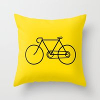 bicycle Throw Pillows featuring Bicycle by Luke Turner