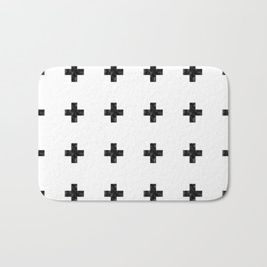 Watercolor Swiss Cross (White) Bath Mat