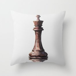 king low poly Throw Pillow