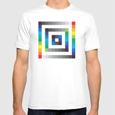 Colorful sqaures pattern MEDIUM White Mens Fitted Tee