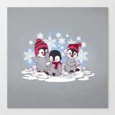 Snow Penguins Canvas Print