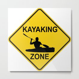 Kayaking Zone Road Sign Metal Print