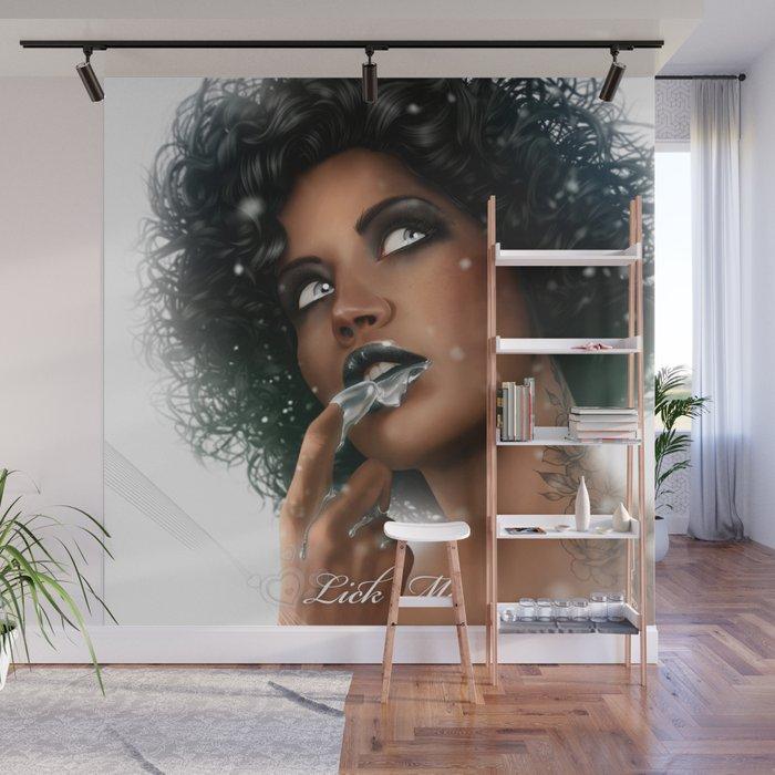 LICK ME - Black Wall Mural