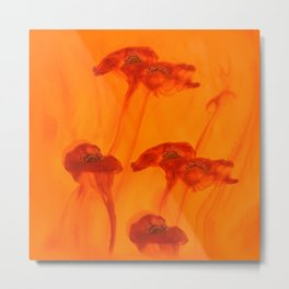 Abstract Red Poppy Flowers Orange Background #decor #society6 #buyart Metal Print