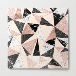 Modern black white marble rose gold glitter foil geometric abstract triangles pattern Metal Print