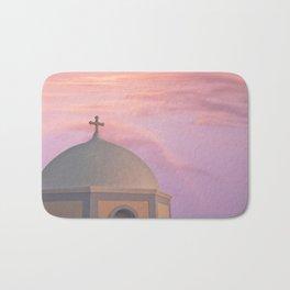 Santorini pink sunset, perfect day, famous Greek island, blush pink Bath Mat