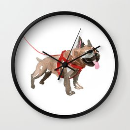watercolor dog vol 5 french bulldog Wall Clock