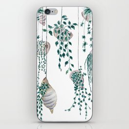 hanging plant in seashell iPhone Skin