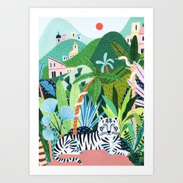 White Bengal Tiger Art Print