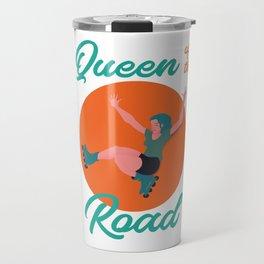 The girl with blue hair on roller skates Travel Mug
