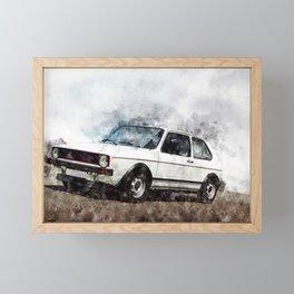 Golf I GTI White Framed Mini Art Print