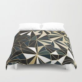 New Art Deco Geometric Pattern - Emerald green and Gold Duvet Cover