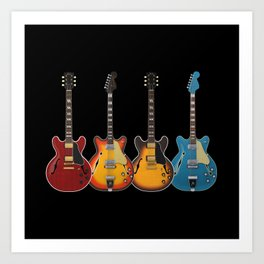 Four Electric Guitars Art Print
