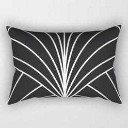 Round Series Floral Burst White on Charcoal Rectangular Pillow