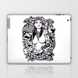 GIRL with SKULL AND SNAKE - PINK Laptop & iPad Skin