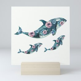 Rose Garden Whales Mini Art Print
