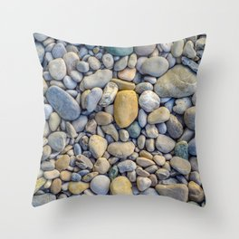 Background Of Smooth River Stones Throw Pillow