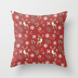 Deer and bullfinches Throw Pillow