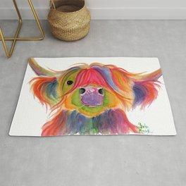 Scottish Highland Cow ' PENELOPE PLUM ' by Shirley MacArthur Rug