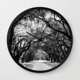 Spanish Moss on Southern Live Oak Trees black and white photograph / black and white art photography Wall Clock