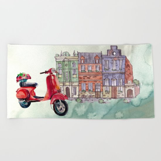 Red Vespa Beach Towel