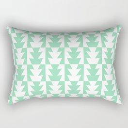 Art Deco Jagged Edge Pattern Mint Green Rectangular Pillow