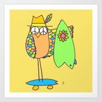 Keep Shredding Surf Skate Peace Owl Art Print