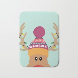 Rudolph Red Nosed Reindeer is looking at you Bath Mat