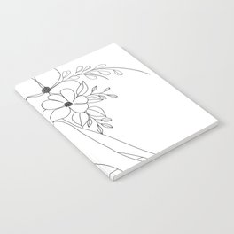 Minimal Line Art Nude Woman with Flowers Notebook
