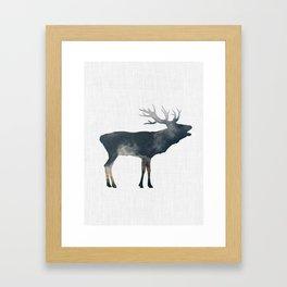 Elk and Mountains Framed Art Print