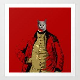 red coat cat Art Print
