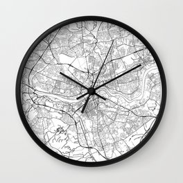 Newcastle Upon Tyne Map White Wall Clock