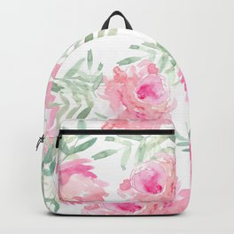 Watercolor Peonie with greenery Backpack