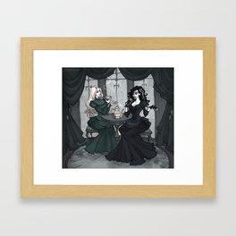 Black sisters tea party Framed Art Print