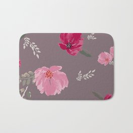 Watercolor pink & red peonies on dusty pink background Bath Mat