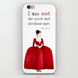 Outlander Claire Fraser Red Dress Not Obedient Quote Watercolor iPhone Skin