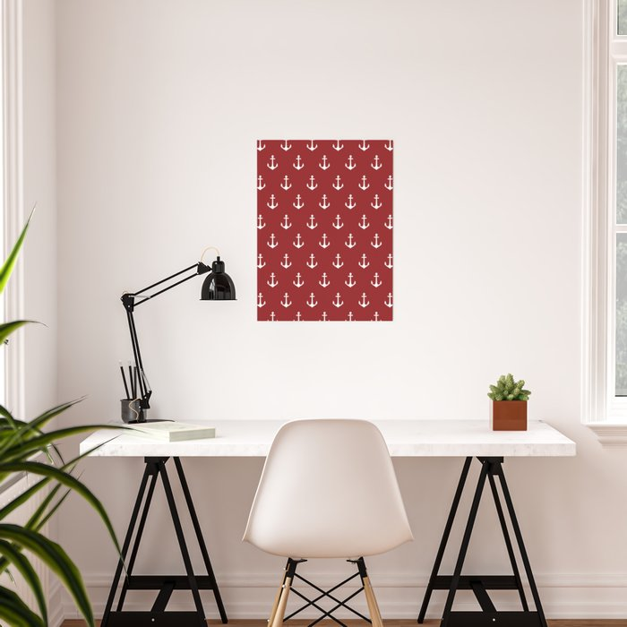 Maritime Nautical Red and White Anchor Pattern - Medium Size Anchors Poster
