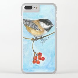 Chickadee On Berry Branch Clear iPhone Case
