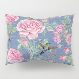 Vintage Watercolor hummingbird and English Roses on blue Background Pillow Sham
