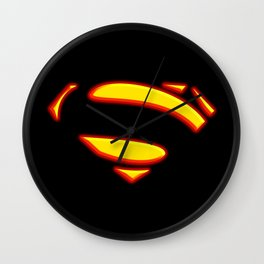 Superman Hope Symbol Logo black background Wall Clock